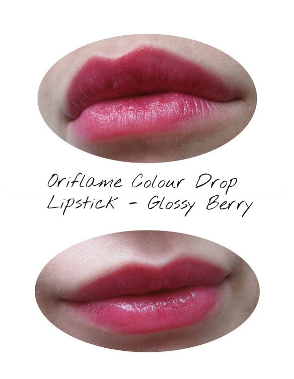 oriflame colour drop glossy berry lipstick lips swatch
