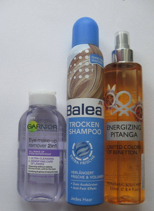 garnier eye makeup remover, balea dry shampoo, benetton body spray