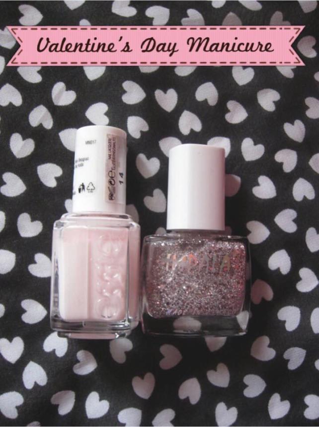 valentine's day sparkly manicure idea essie